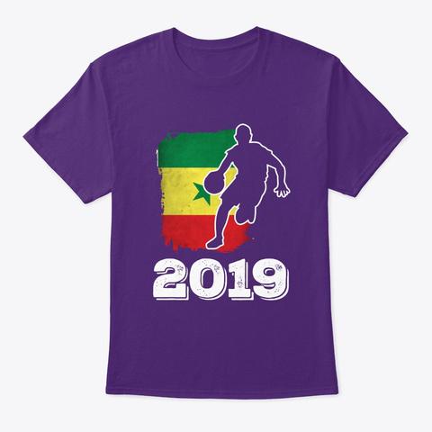 Senegal Flag Basketball 2019 Tee Purple T-Shirt Front