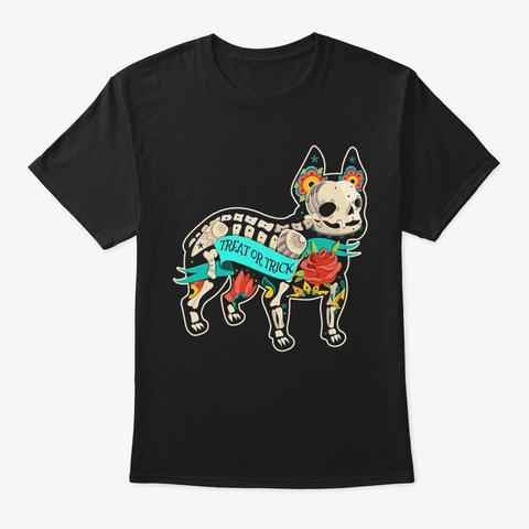 Frenchie Bone   Halloween Shirt Black T-Shirt Front