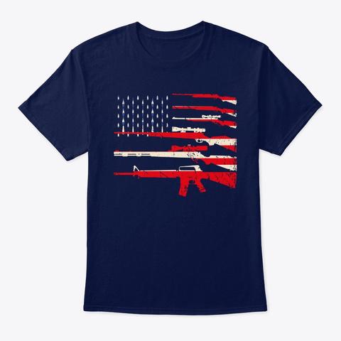 Usa Flag Rifles Guns Weapons 2 A Amendmen Navy T-Shirt Front
