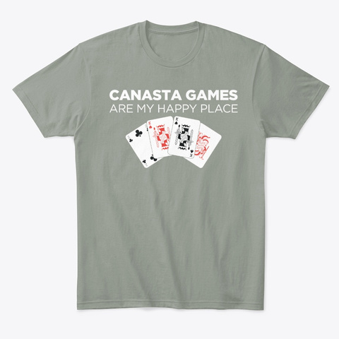 Happy Place Funny Card Playing Canasta Grey T-Shirt Front