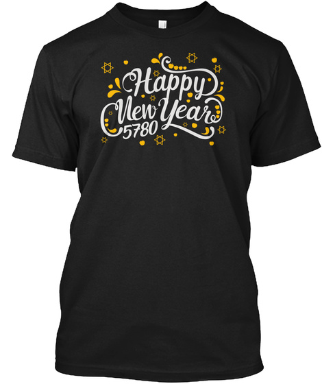 Happy Jewish New Year 5780 Rosh Hashanah Black T-Shirt Front
