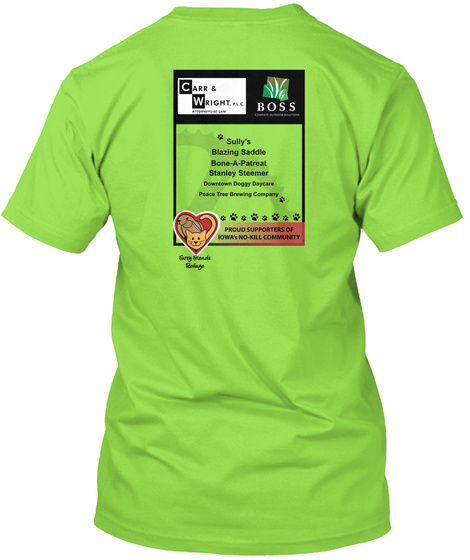 Carr & Wright Boss Sully's Blazing Saddle Bone  A Patreat Lime T-Shirt Back