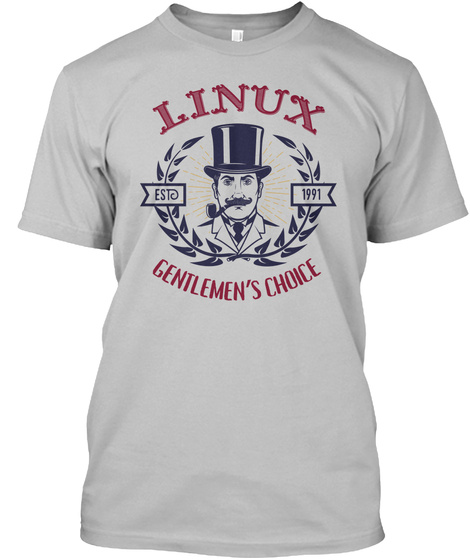 Linux Estd 1991 Gentlemen's Choice Sport Grey T-Shirt Front