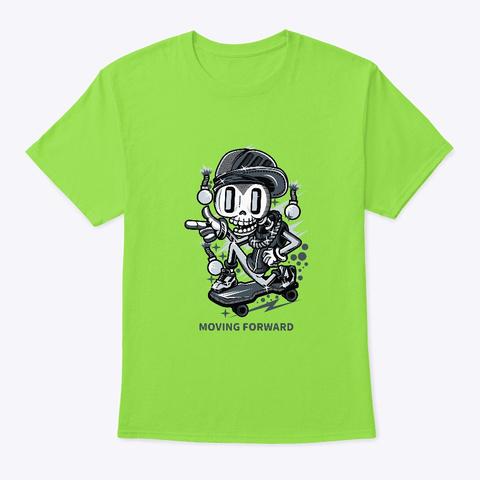 Skeleton Skater Moving Forward  Lime T-Shirt Front