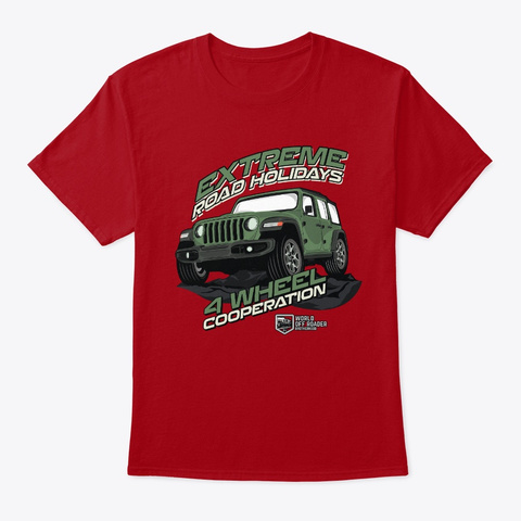 Offroad Holidays 4x4 Tshirt Deep Red T-Shirt Front