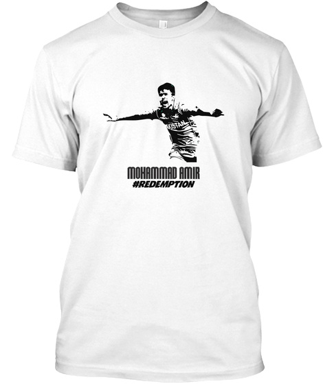 Mohammad Amir #Redemption White T-Shirt Front