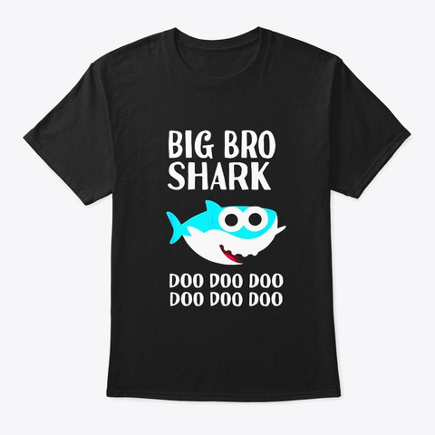 Brother Shark Doo Doo Big Bro Halloween Black T-Shirt Front