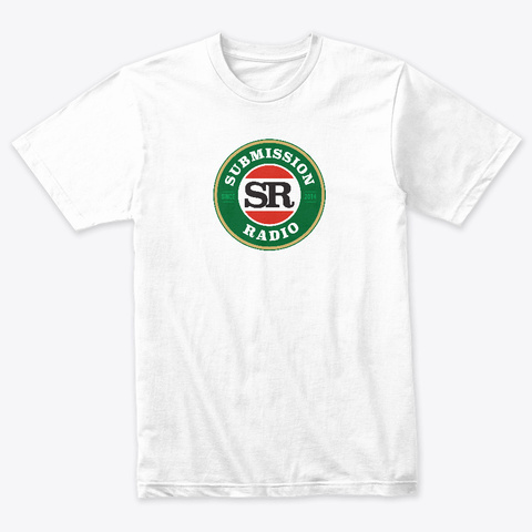 Submission Radio   Iconic Aussie Sr Logo Heather White T-Shirt Front
