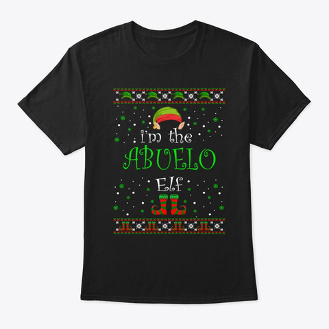 Abuelo Elf Gift Ugly Christmas Black T-Shirt Front
