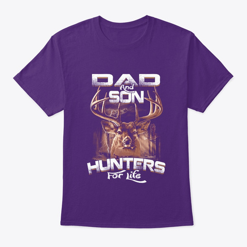 Dad And Son Hunters For Life Purple T-Shirt Front