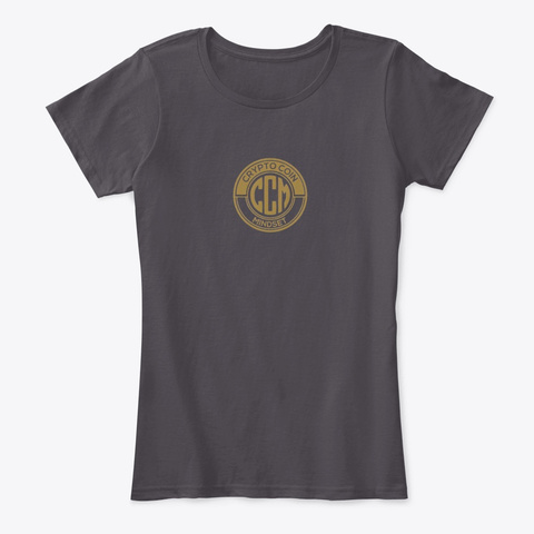 Official Crypto Coin Mind Set Logo Merch Heathered Charcoal  T-Shirt Front