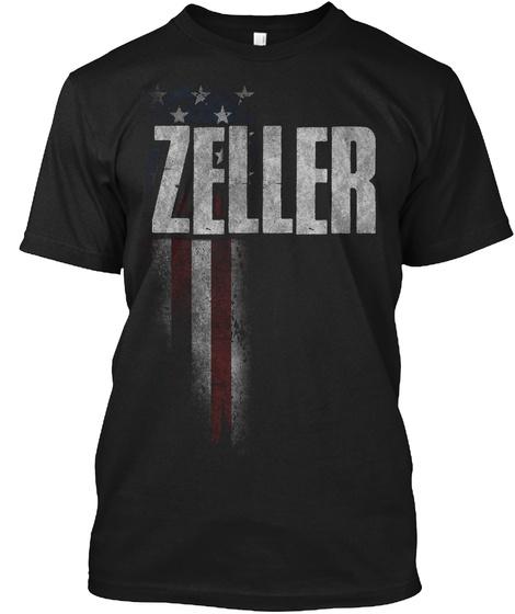 Zeller Family American Flag Black T-Shirt Front