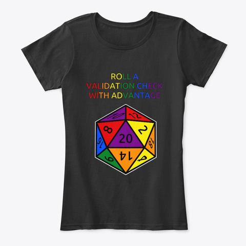 Lgbtq Validation Check   She/Her Black T-Shirt Front