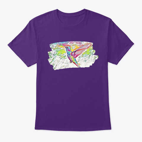 Colorful Bird Art Painting Birdie Dove  Purple T-Shirt Front