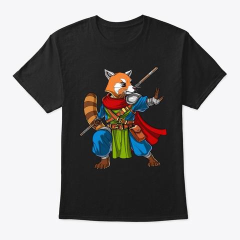 Red Panda Bear Ninja Black T-Shirt Front