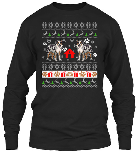 Ugly Xmas Sweater Australian Shepherd Black T-Shirt Front