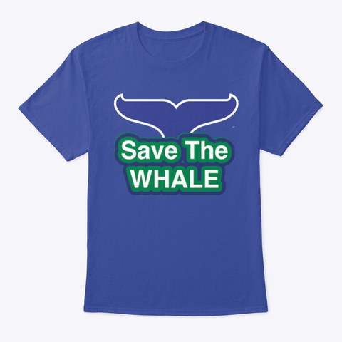 Save The Whale Deep Royal T-Shirt Front