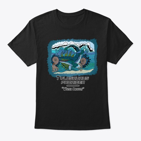 Water Dragon Wonderland Black T-Shirt Front
