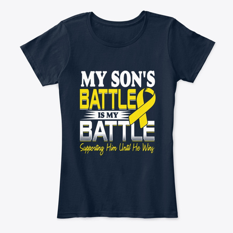 Childhood Cancer Awareness  My Son Batte New Navy T-Shirt Front