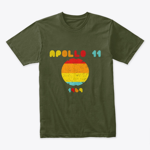 Vintage Apollo 11 1969 Military Green T-Shirt Front