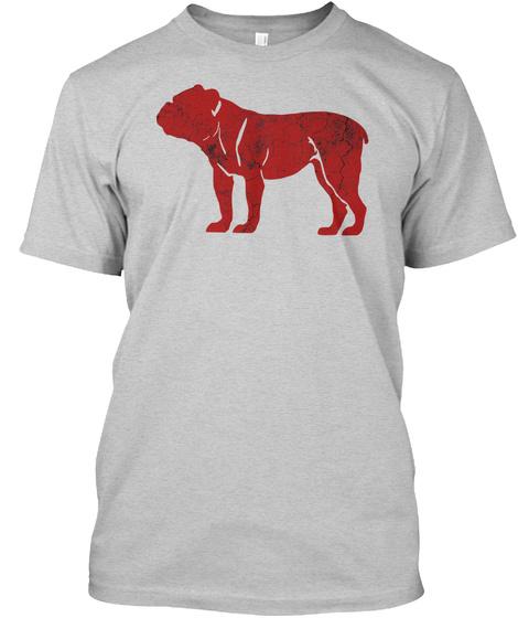 English Bulldog Red Silhouette Shirts Light Steel Kaos Front