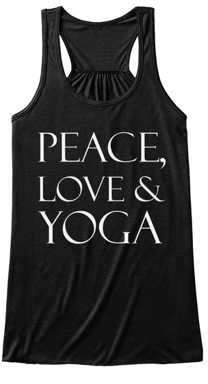 Peace Love & Yoga Black T-Shirt Front