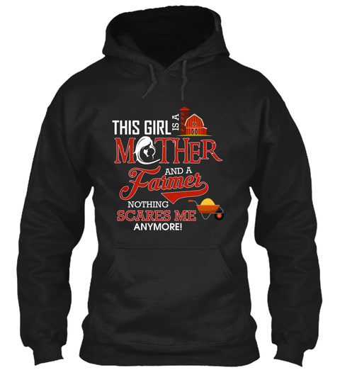 This Girl Is A Mother And A Farmer Black T-Shirt Front