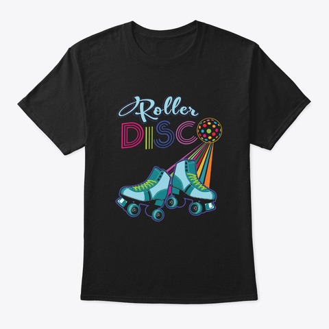 Funny Roller Disco Skates Classic Retro Black T-Shirt Front