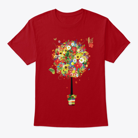 Flowering Plant Deep Red T-Shirt Front
