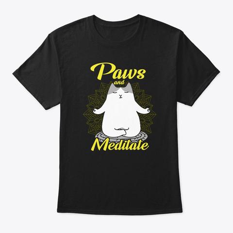 Paws Meditate Yoga Cat T Shirt Black T-Shirt Front