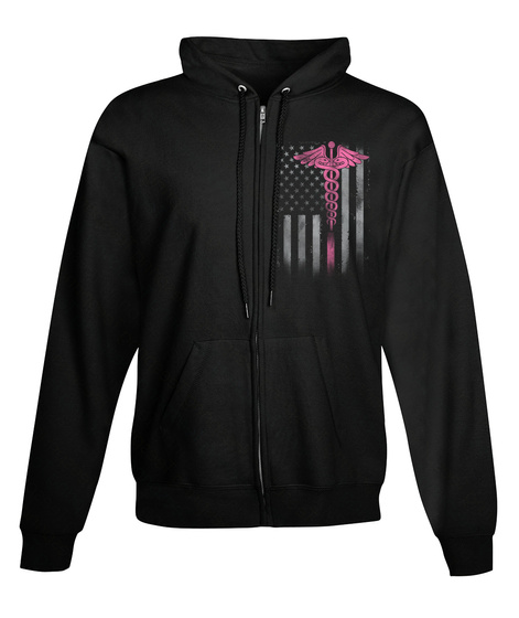 Nurse   Full Zip Hoodie (American Flag) Black T-Shirt Front