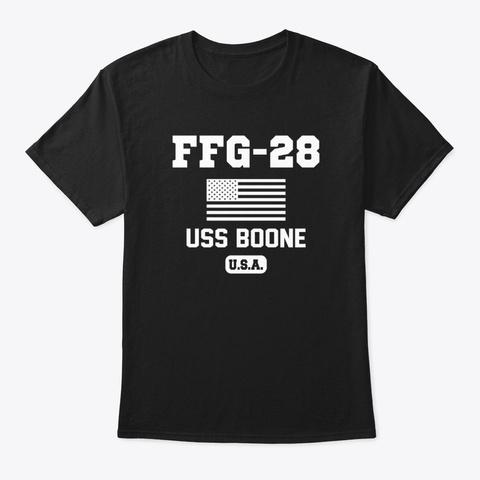 Uss Boone Ffg28 Black T-Shirt Front