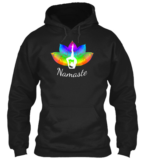 Hoodie Yoga Pose Mandala Pedals Retro Black T-Shirt Front