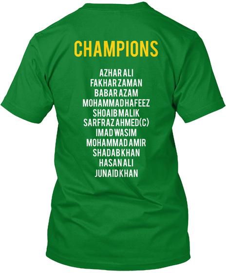 Champions Azhar Ali Fakhar Zaman Babar Azam Mohammad Hafeez Shoaib Malik Sarfaraz Ahmed(C) Imad Wasim Mohammad Amir... Bright Green Camiseta Back