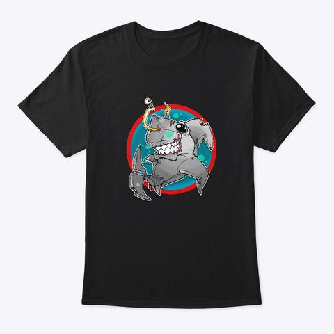 Lucky Shark Black T-Shirt Front