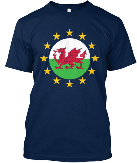 Welsh And European (Circle) Navy T-Shirt Front