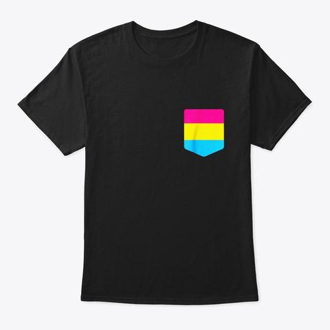 Pansexual Flag Shirt Lgbt Pride Pocket Black T-Shirt Front