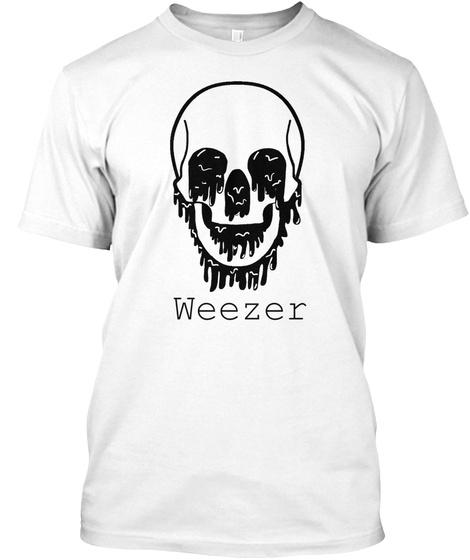 Weezer Black Skull  White T-Shirt Front