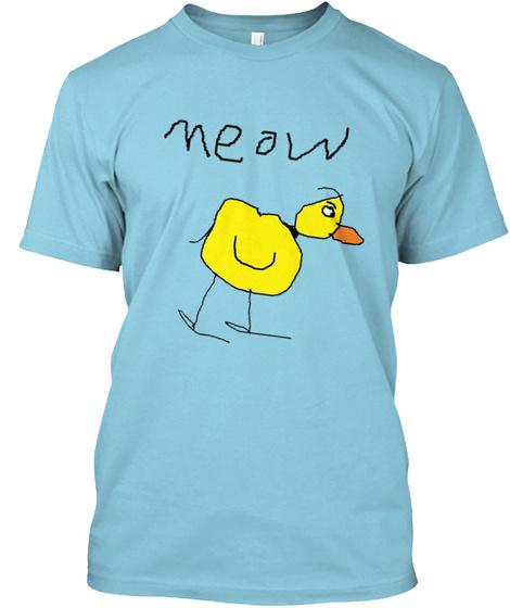 Meow  Light Blue T-Shirt Front