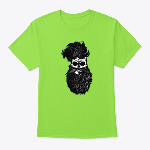 Spider   Skull Bearded Hipster Beard Be Lime T-Shirt Front