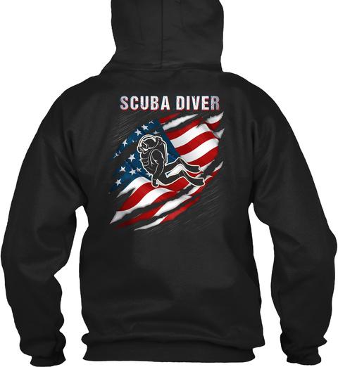 Scuba Diver Black T-Shirt Back