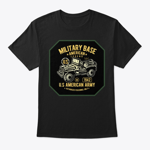 Military Off Road Truck Tee Shirt Black T-Shirt Front