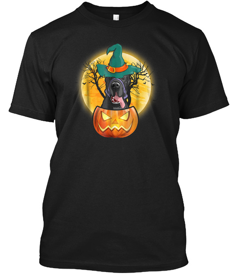 Great Dane Pumpkin Tee Scary Halloween T Black T-Shirt Front