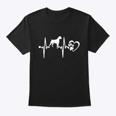 Boxer Dog Heartbeat T Shirt Black T-Shirt Front