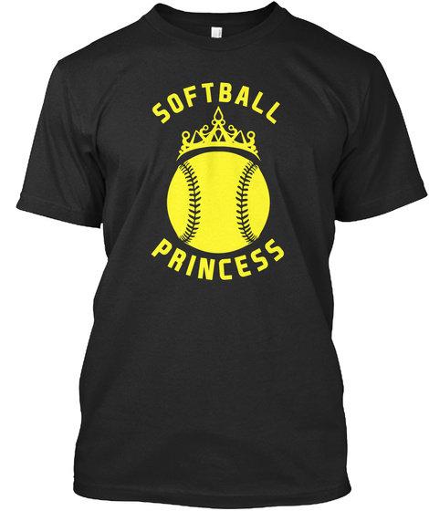 Softball Princess Black T-Shirt Front
