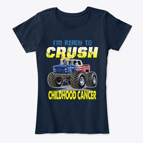 Crush Childhood Cancer Shirt New Navy T-Shirt Front