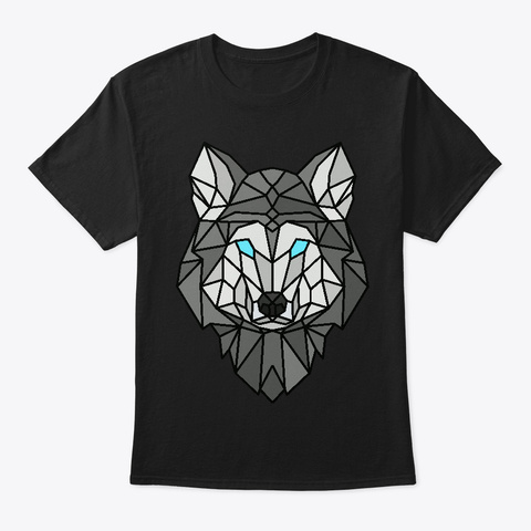 Geometric Grey Wolf Black T-Shirt Front