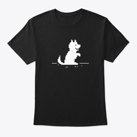 Cute Pixel Dog   Offline No Internet  Black T-Shirt Front