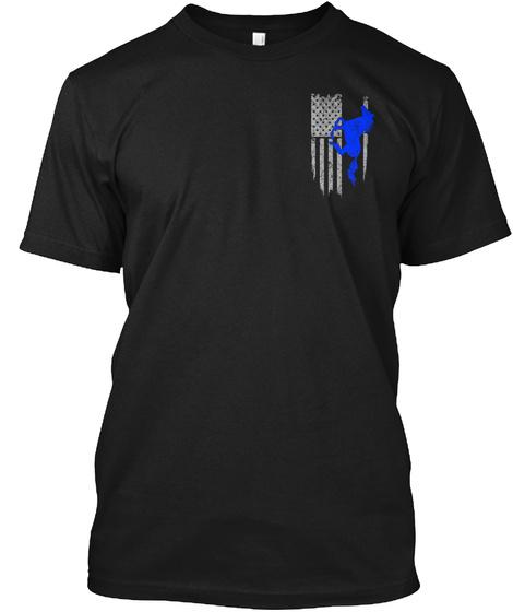 Horse Riding   Usa Flag Black T-Shirt Front