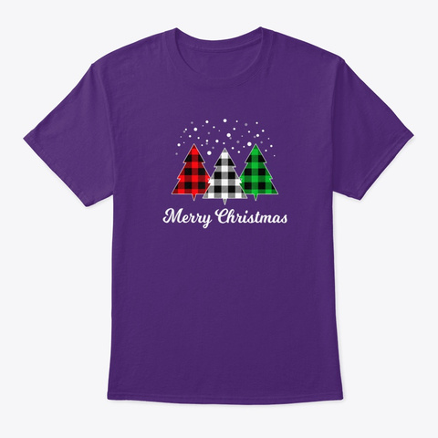 Christmas Santa Tree Purple T-Shirt Front